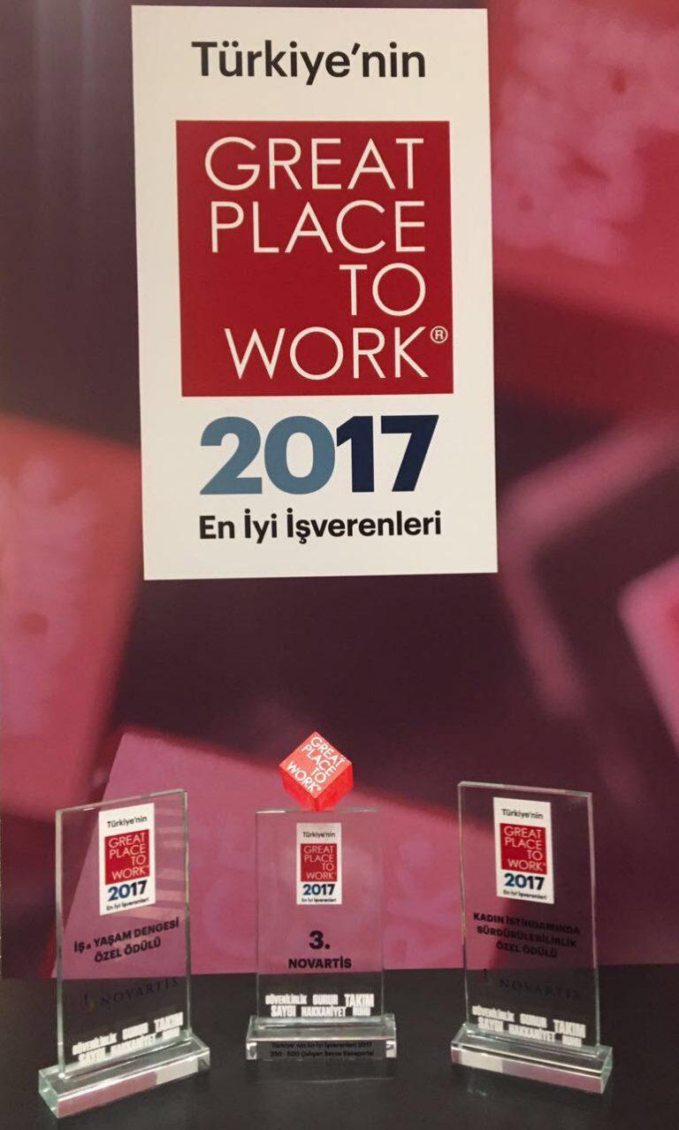 Novartis Türkiye'ye Great Place to Work tarafından 3 ödül