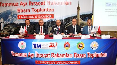 Türkiye İhracatçılar Meclisi'nin, Temmuz ayı ihracat verilerini açıklamak üzere Çankırı'da düzenlediği toplantıya Çankırı Valisi Vahdettin Özcan, Çankırı Ticaret ve Sanayi Odası Başkan Yardımcısı, Çankırı Ticaret Borsası Başkan Yardımcısı, Çankırı Karatekin Üniversitesi Rektörü ile ihracatçı birliklerinin başkanları ve ihracatçılar katıldı.
