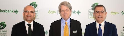 Maliye Bakani Mehmet Simsek_2013 Nobel Ekonomi Odulu sahibi Prof. Robert J. Shiller_Sekerbank Yonetim Kurulu Baskani Hasan Basri Goktan
