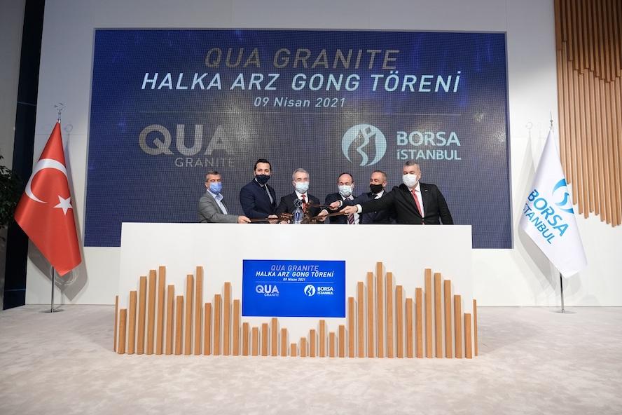 <a><strong>Borsa İstanbul'da gong,</strong></a><strong>son 3 yılda halka arz edilen şirketlerin en büyüğü</strong><strong>Qua Granite için çaldı</strong>