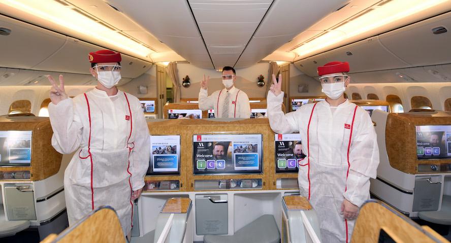 <strong>Her Zaman, Her Şeyden Önce Güvenlik: Emirates, Tüm Müşteri Temas Noktalarında Tamamen Aşılanmış Ön Saftaki Ekipleriyle Hizmet Verdiği İlk Uçuşunu Gerçekleştirdi</strong>